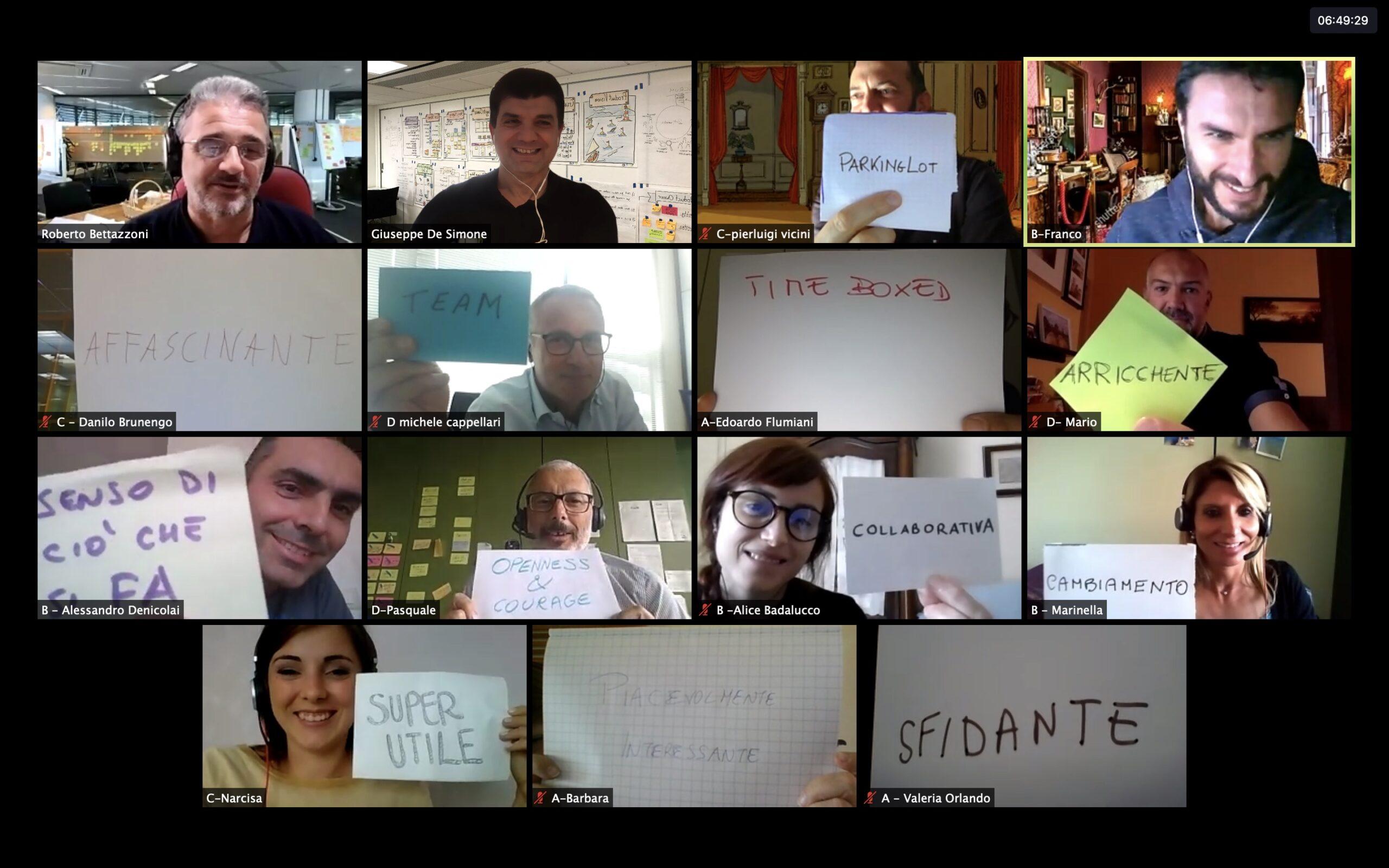 Immagine di partecipanti a uno dei corsi Scrum organizzati da agile42 in class virtuale