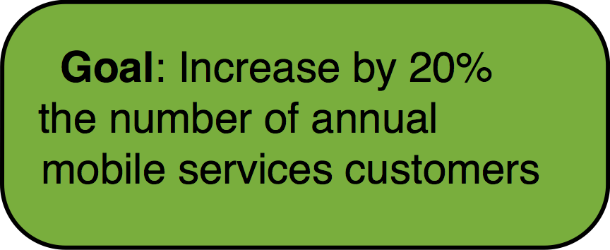 Goal: Increase by 20% the number of annual mobile services customers