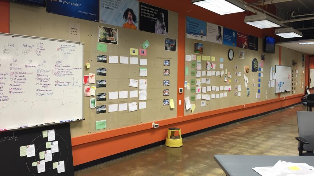 A board at Menlo Innovations factory in Ann Arbor, Michigan