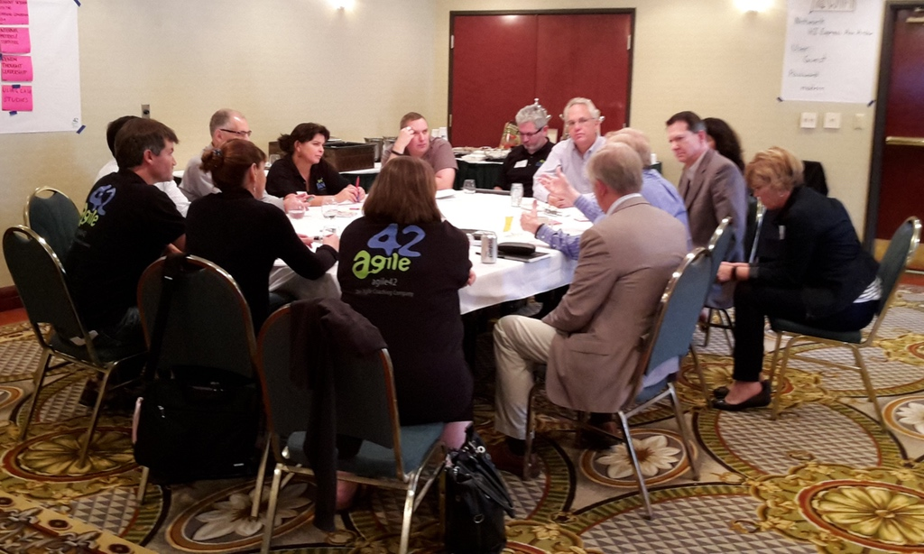Panel with SALC15 members during agile42 Coach Camp in Ann Arbor, Michigan