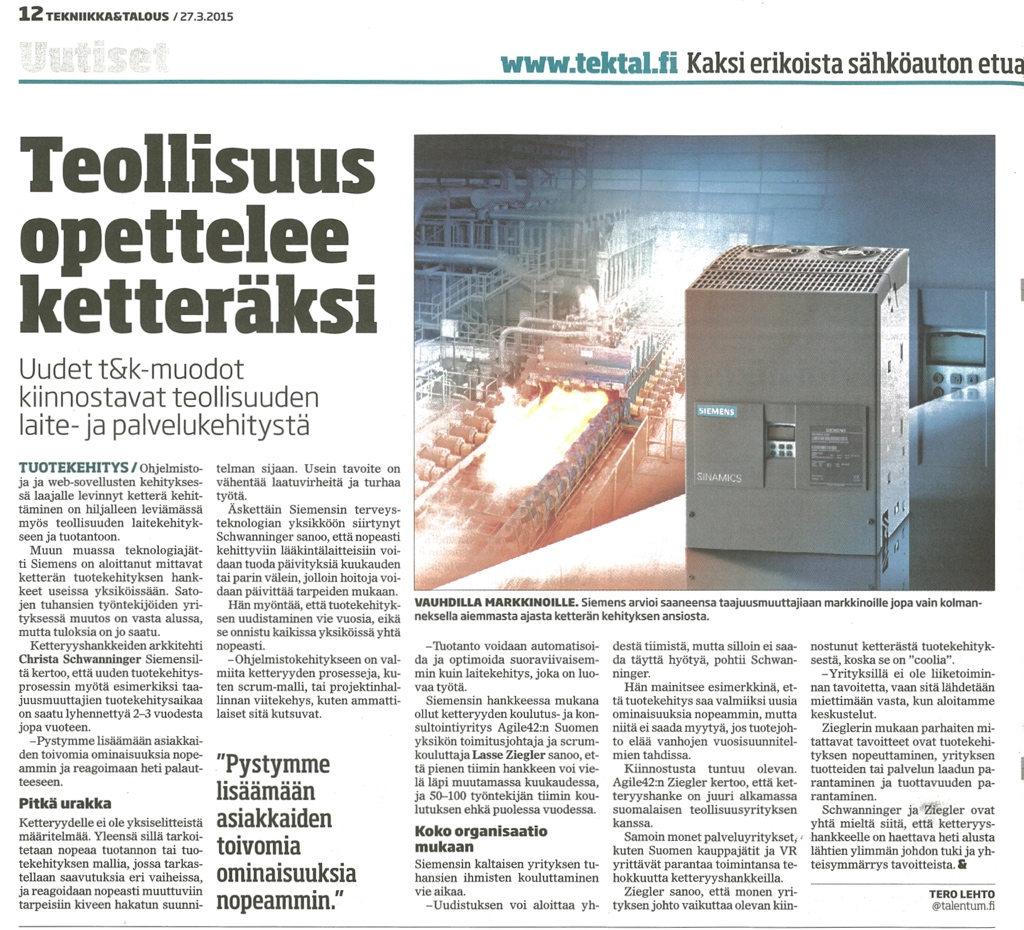 "Article from ""Tekniika & Talous"""